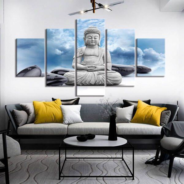 Tableau Bouddha Tête dans les nuages 1