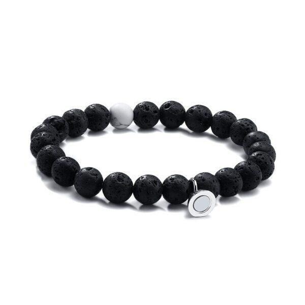 Vnox femmes hommes attrayant Couples Bracelets porte-bonheur 8 MM naturel pierre volcanique perles saint valentin anniversaire cadeaux bijoux 4