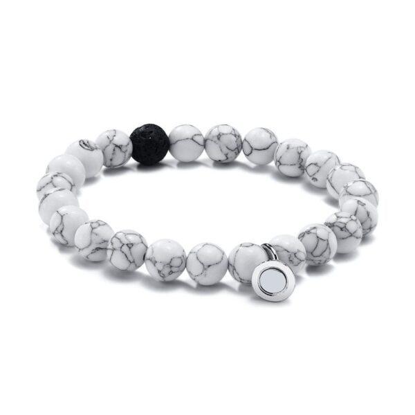 Vnox femmes hommes attrayant Couples Bracelets porte-bonheur 8 MM naturel pierre volcanique perles saint valentin anniversaire cadeaux bijoux 3