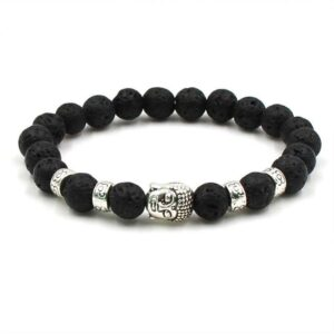 Bracelet pierre de lave Bouddha