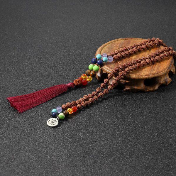 Mala 7 chakras et perle de RUDRAKSHA 3