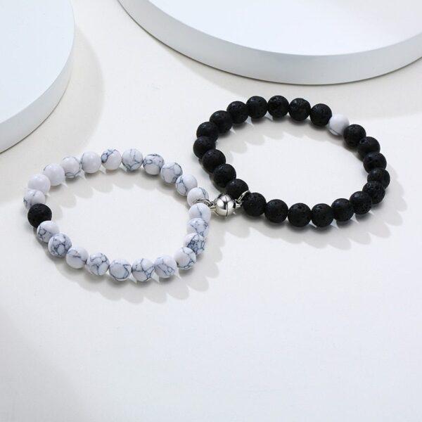 Vnox femmes hommes attrayant Couples Bracelets porte-bonheur 8 MM naturel pierre volcanique perles saint valentin anniversaire cadeaux bijoux 2