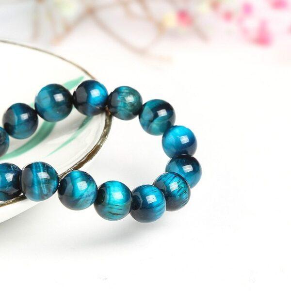 JD — Bracelet Bouddha œil de tigre bleu, bijou en pierre naturelle, perles rondes avec élastique, haute qualité, pour hommes et femmes 2