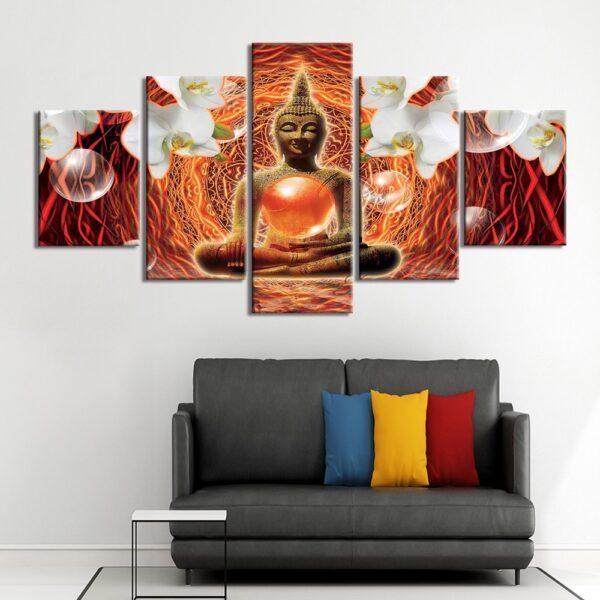 Table Esprit Bouddha Décoration Rouge 1