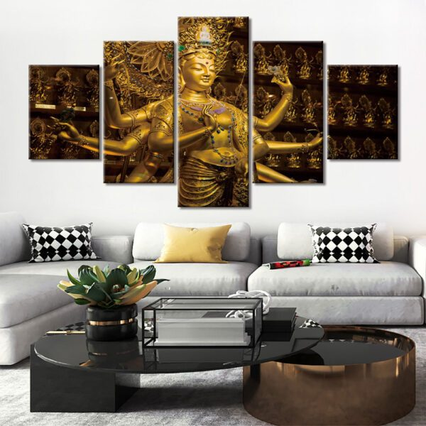 Tableau Bouddhiste Statue en Or 1