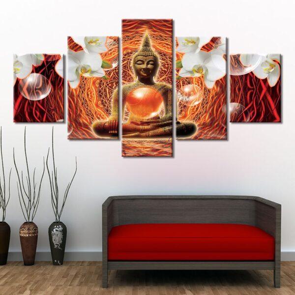Table Esprit Bouddha Décoration Rouge 2