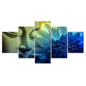 Tableau Visage de Bouddha Décoration Bleue