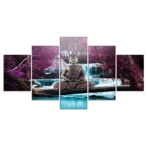 Tableau Bouddha Méditation Paysage Violet