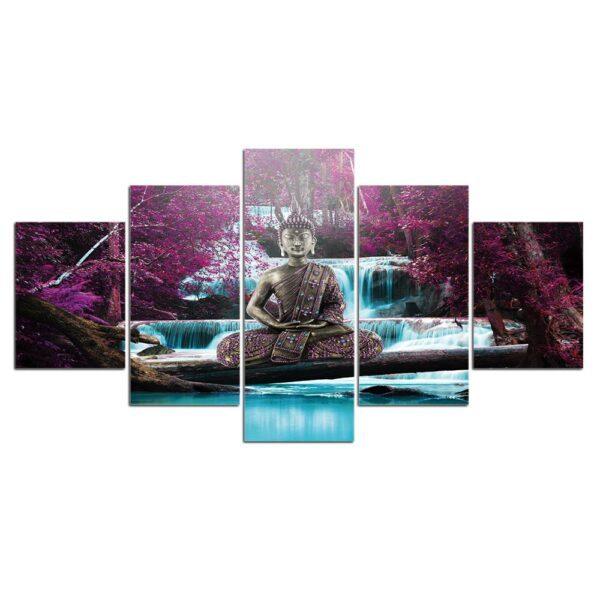 Tableau Bouddha Méditation Paysage Violet 3
