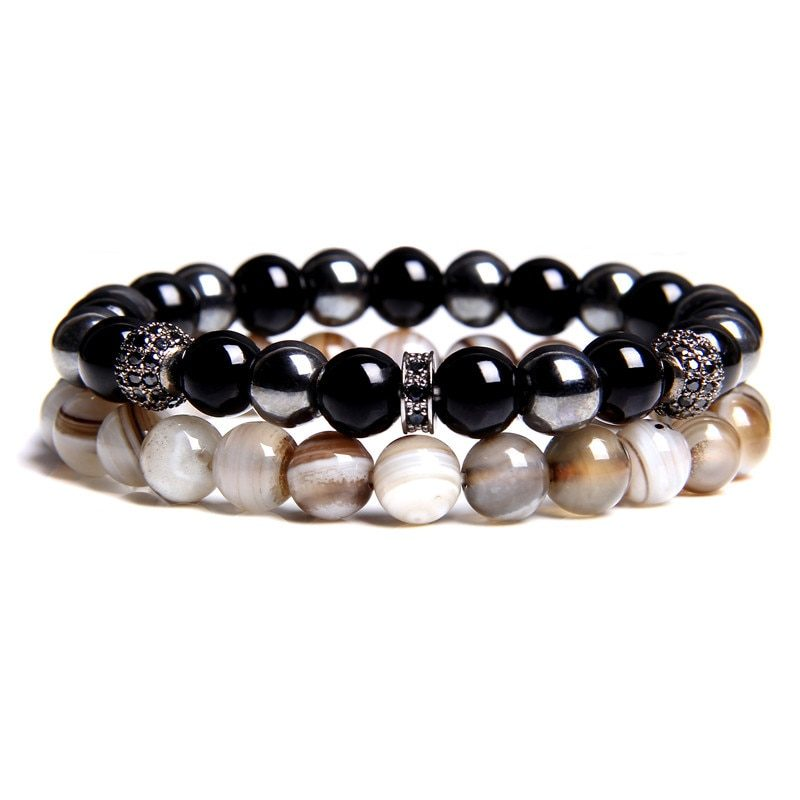 Bracelet Duo Ressourçant Agate Botswana & Onyx