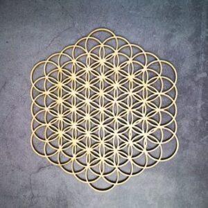 Géométrie Sacré en bois<br> Fleur de vie Exagone
