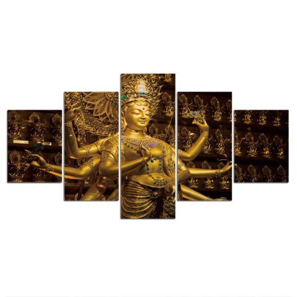 Tableau Bouddhiste Statue en Or 3