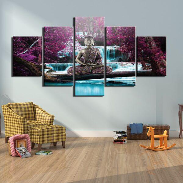 Tableau Bouddha Méditation Paysage Violet 1