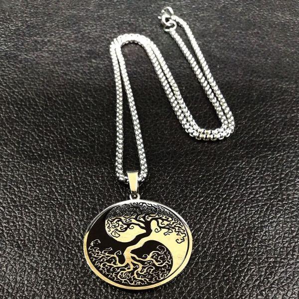 collier acier ying yang arbre de vie