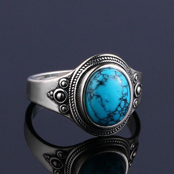 bague en argent et pierre turquoise