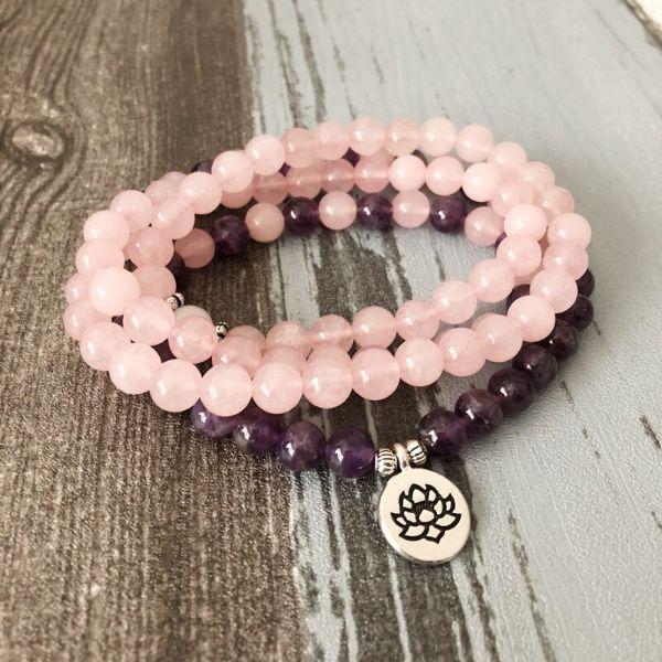 mala en pierre de quartz rose