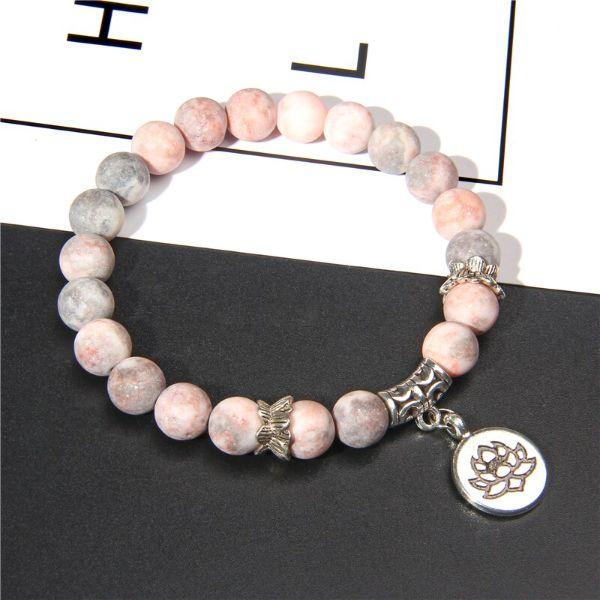 bracelet fleur de lotus et pierre de jaspe rose