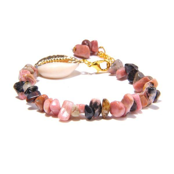 bracelet en rhodonite et coquillage
