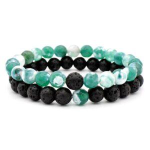 bracelet agate mousse et pierre de lave