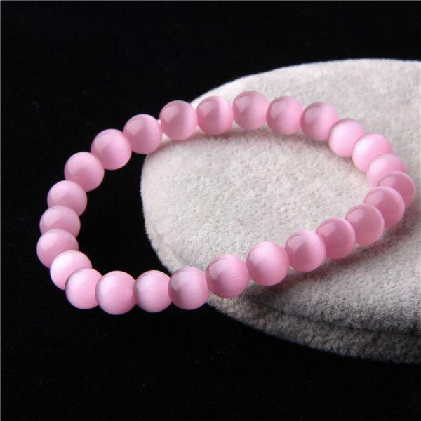 bracelet en quartz rose naturelle