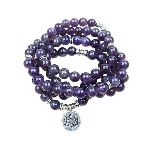 mala en pierre d'amethyste violette