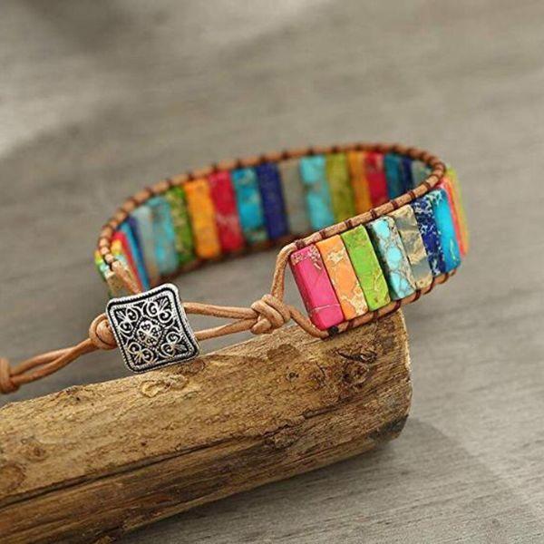 bracelet 7 chakra en cuir