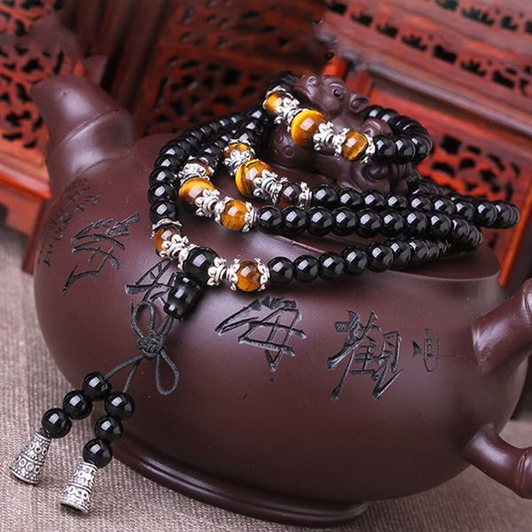 mala bouddhiste oeil de tigre