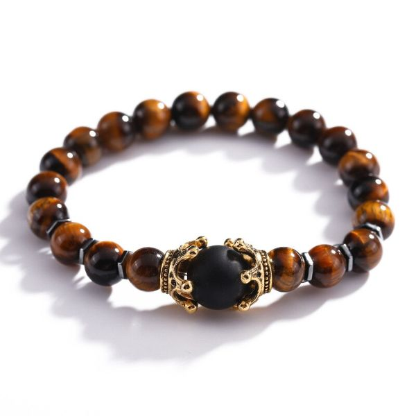 bracelet oeil de tigre couronne obsidienne