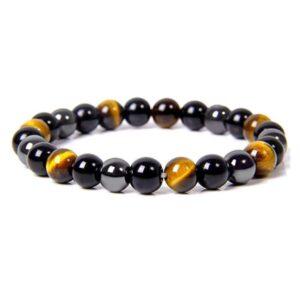 bracelet obsidienne hematite oeil de tigre