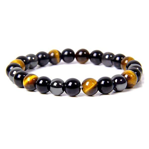 Bracelet Triple protection Œil de tigre, Hématite, Obsidienne noire