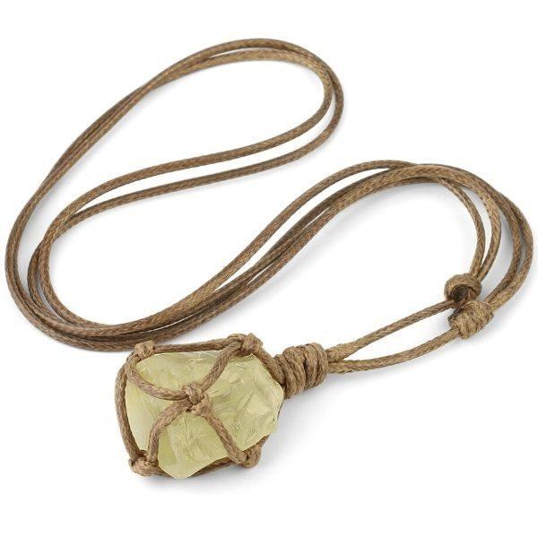 collier avec pendentif en citrine naturelle