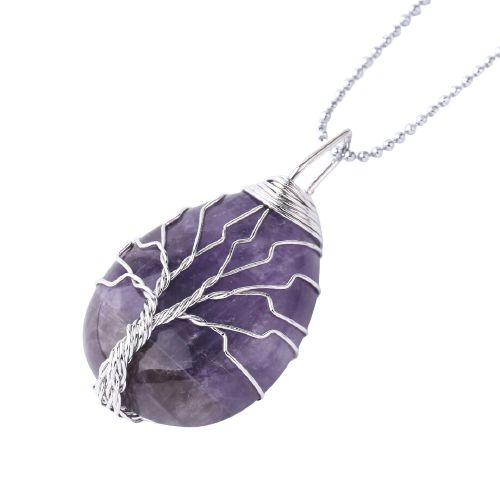 collier arbre de vie et pierre d'amethyste