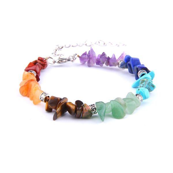 bracelet 7 chakras en pierres brutes