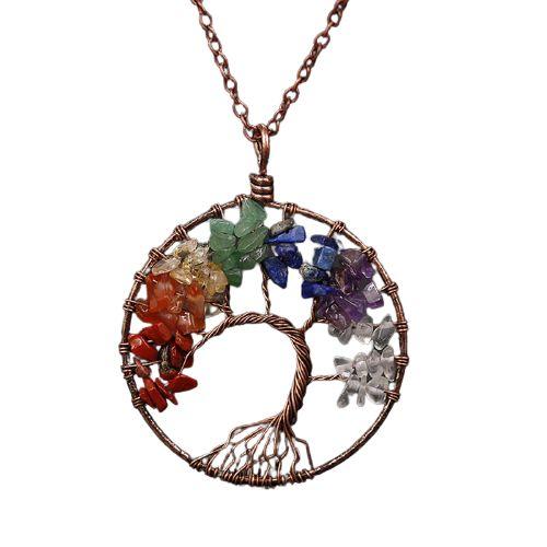 collier arbre de vie et pierre naturelle