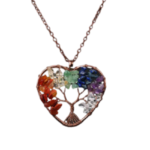 collier coeur 7 chakras pierre naturelle
