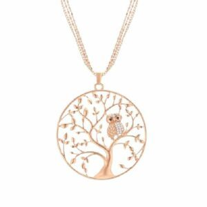 Collier Arbre de Vie Hibou en Or Rose