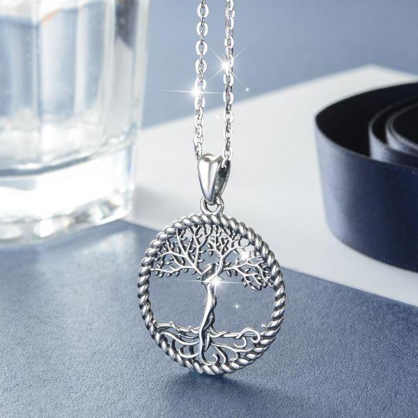 collier argent massif arbre de vie