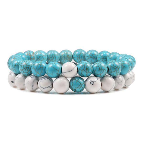 bracelet couple howlite et pierre turquoise