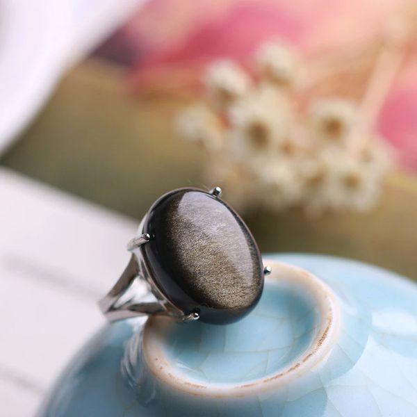 bague obsidienne en pierre