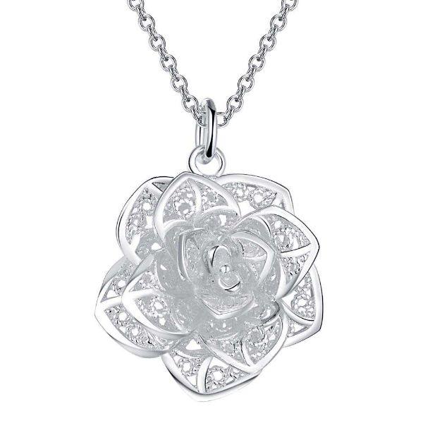 pendentif fleur de lotus argent