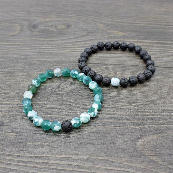 bracelet couple pierre agate mousse et pierre de lave