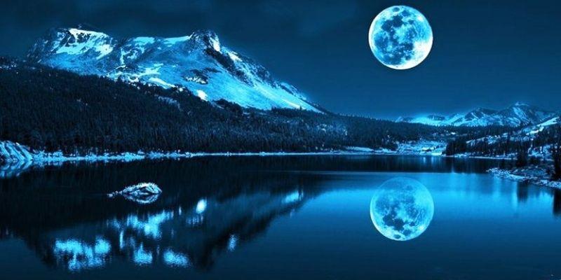 paysage nuit de plaine lune