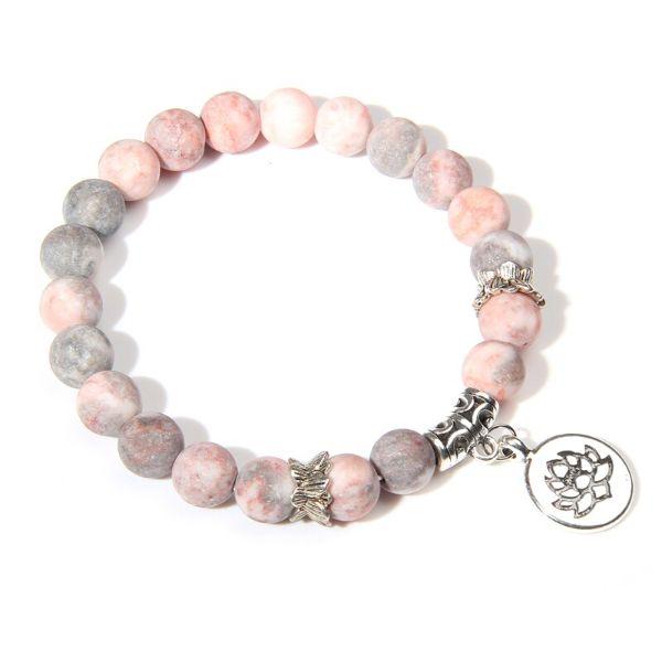 Bracelet Fleur de Lotus en pierre naturelle de Jaspe Rose