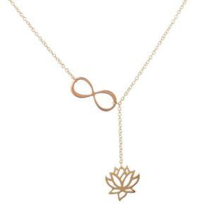 Collier Symbole Infini et Fleur de Lotus