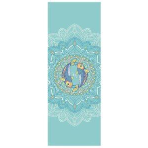 tapis de yoga bleu gris poisson