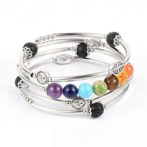 Bracelet Spirale Multitour </br Pierre 7 chakras