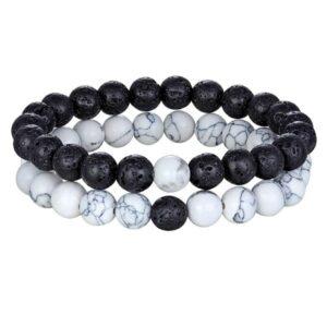 Bracelet Couple pierre de Lave – Howlite