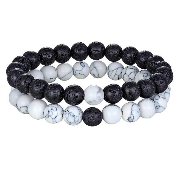 bracelet couple pierre de lave et pierre howlite