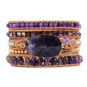 Bracelet Manchette </br> Pierre d'Améthyste