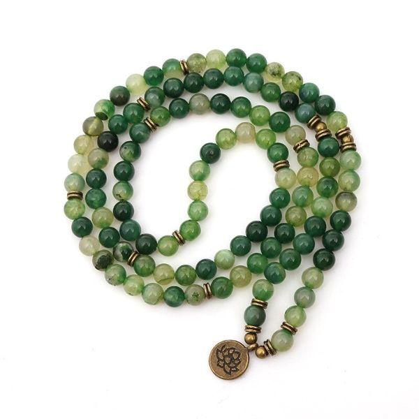 mala en pierre naturelle d'agate verte